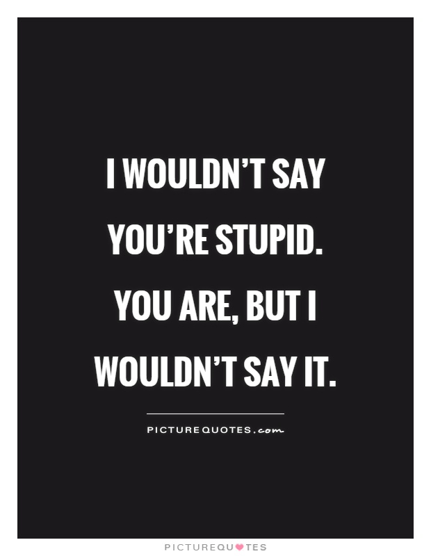 I wouldn't say you're stupid. You are, but I wouldn't say it Picture Quote #1