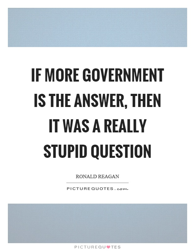 If more government is the answer, then it was a really stupid question Picture Quote #1