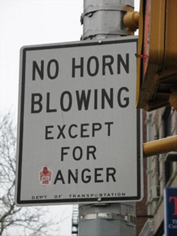 No horn blowing except for anger Picture Quote #1