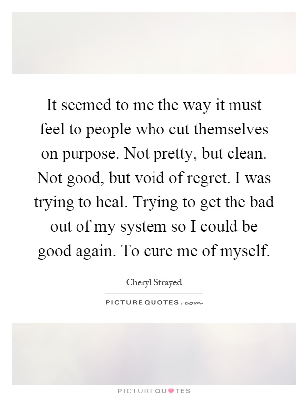 It seemed to me the way it must feel to people who cut themselves on purpose. Not pretty, but clean. Not good, but void of regret. I was trying to heal. Trying to get the bad out of my system so I could be good again. To cure me of myself Picture Quote #1