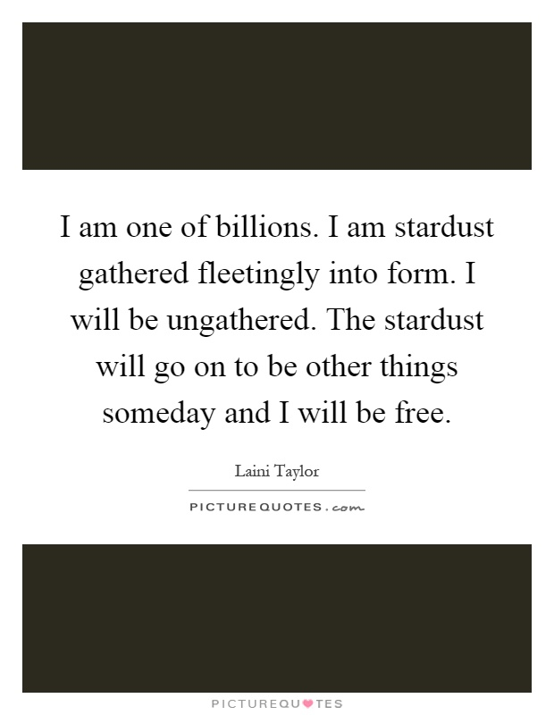 I am one of billions. I am stardust gathered fleetingly into form. I will be ungathered. The stardust will go on to be other things someday and I will be free Picture Quote #1