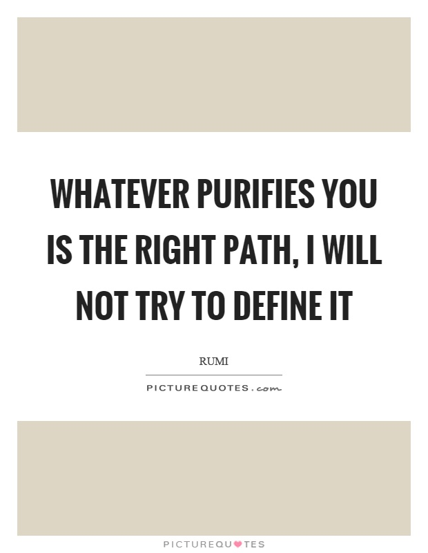 Whatever purifies you is the right path, I will not try to define it Picture Quote #1