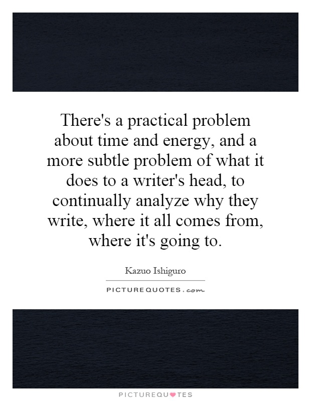 There's a practical problem about time and energy, and a more subtle problem of what it does to a writer's head, to continually analyze why they write, where it all comes from, where it's going to Picture Quote #1