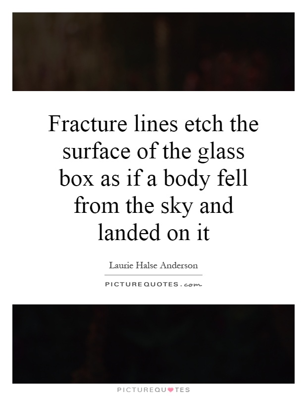 Fracture lines etch the surface of the glass box as if a body fell from the sky and landed on it Picture Quote #1