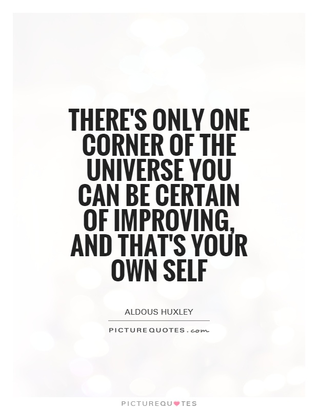 There's only one corner of the universe you can be certain of improving, and that's your own self Picture Quote #1