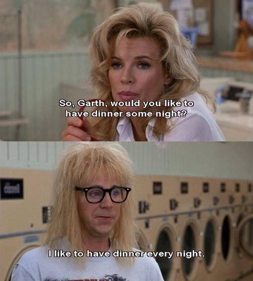 So, Garth, would you like to have dinner some night? I like to have dinner every night Picture Quote #1