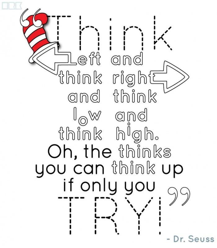 Think left and think right and think low and think high. Oh, the thinks you can think up if only you try! Picture Quote #1