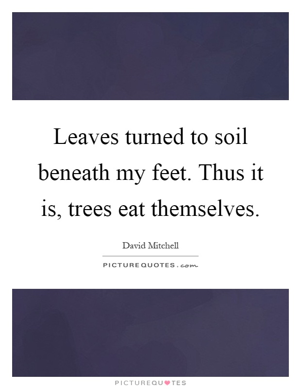 Leaves turned to soil beneath my feet. Thus it is, trees eat themselves Picture Quote #1