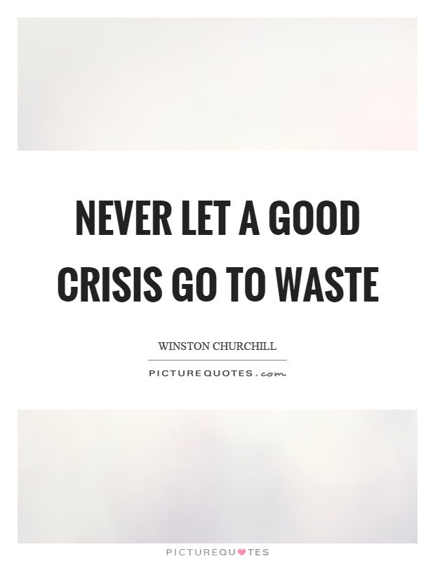 Never let a good crisis go to waste Picture Quote #1