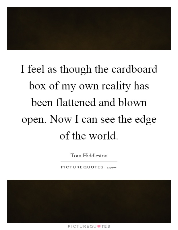 I feel as though the cardboard box of my own reality has been flattened and blown open. Now I can see the edge of the world Picture Quote #1