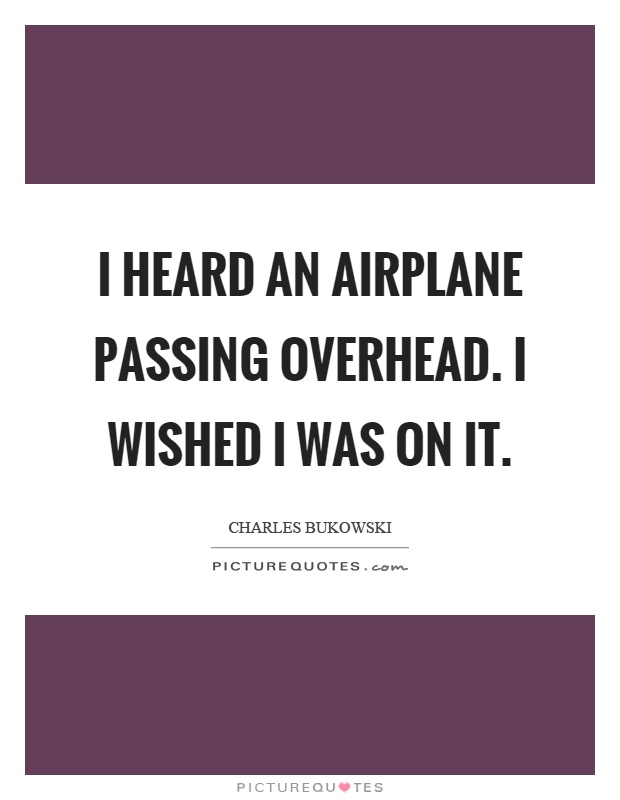 I heard an airplane passing overhead. I wished I was on it Picture Quote #1