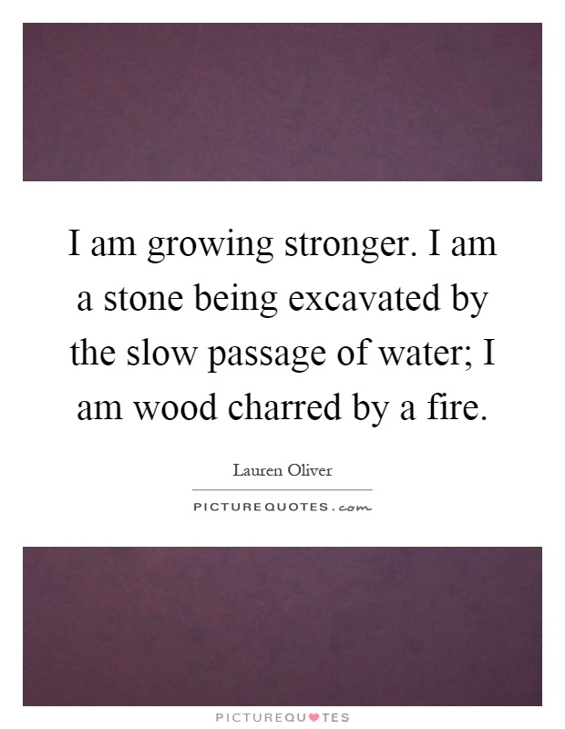 I am growing stronger. I am a stone being excavated by the slow passage of water; I am wood charred by a fire Picture Quote #1