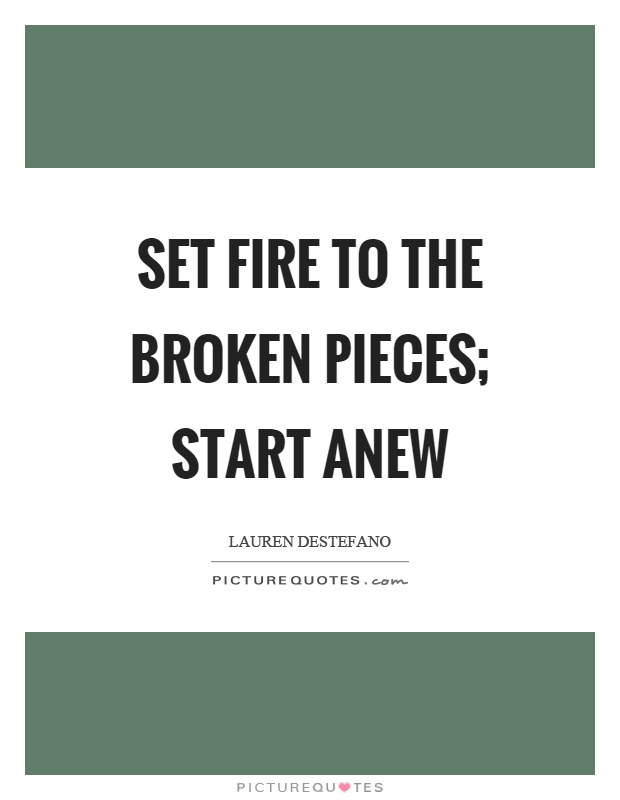 Set fire to the broken pieces; start anew Picture Quote #1