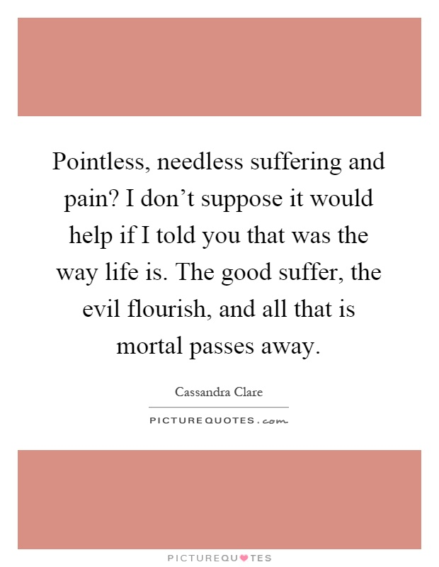 Pointless, needless suffering and pain? I don't suppose it would help if I told you that was the way life is. The good suffer, the evil flourish, and all that is mortal passes away Picture Quote #1