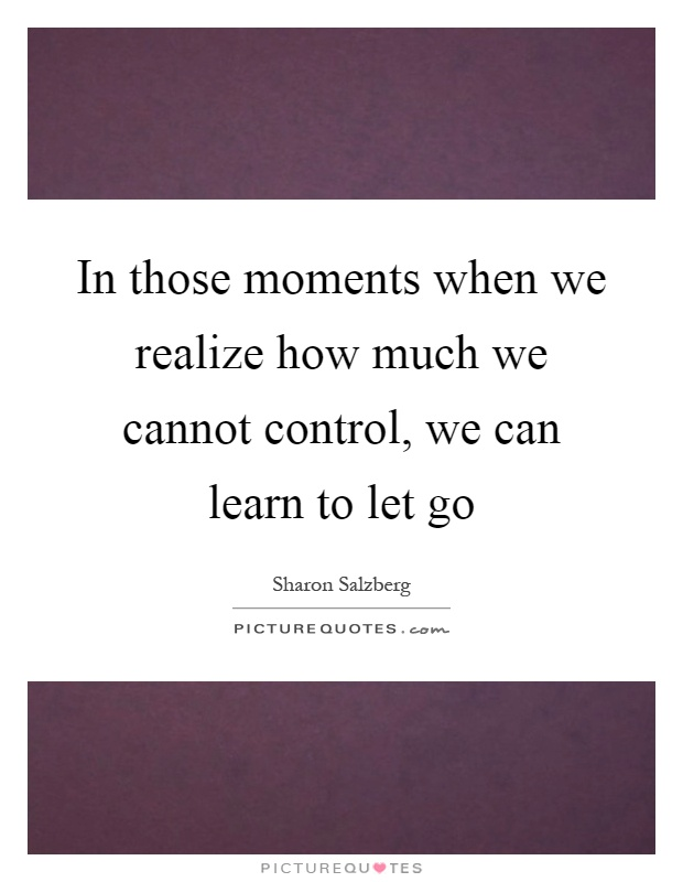 In those moments when we realize how much we cannot control, we can learn to let go Picture Quote #1