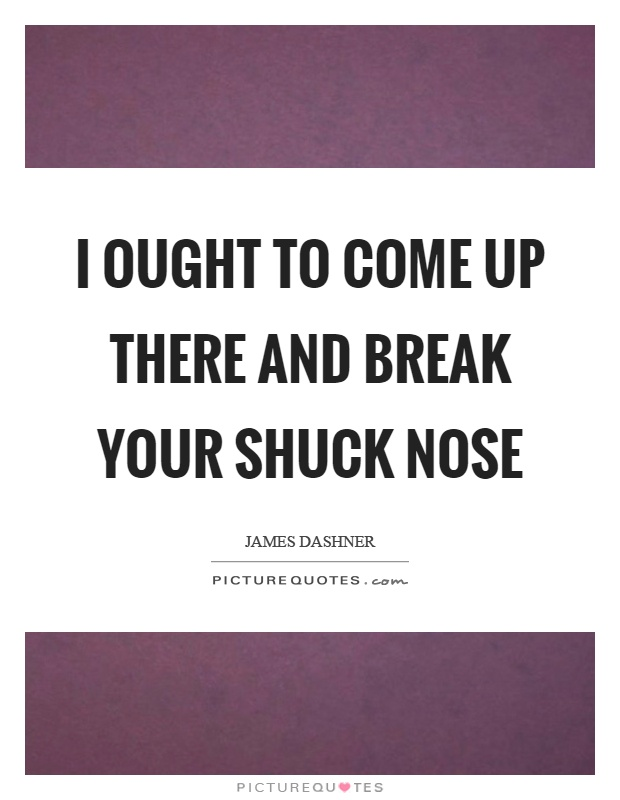 I ought to come up there and break your shuck nose Picture Quote #1