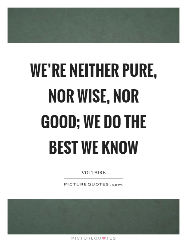 We're neither pure, nor wise, nor good; we do the best we know Picture Quote #1