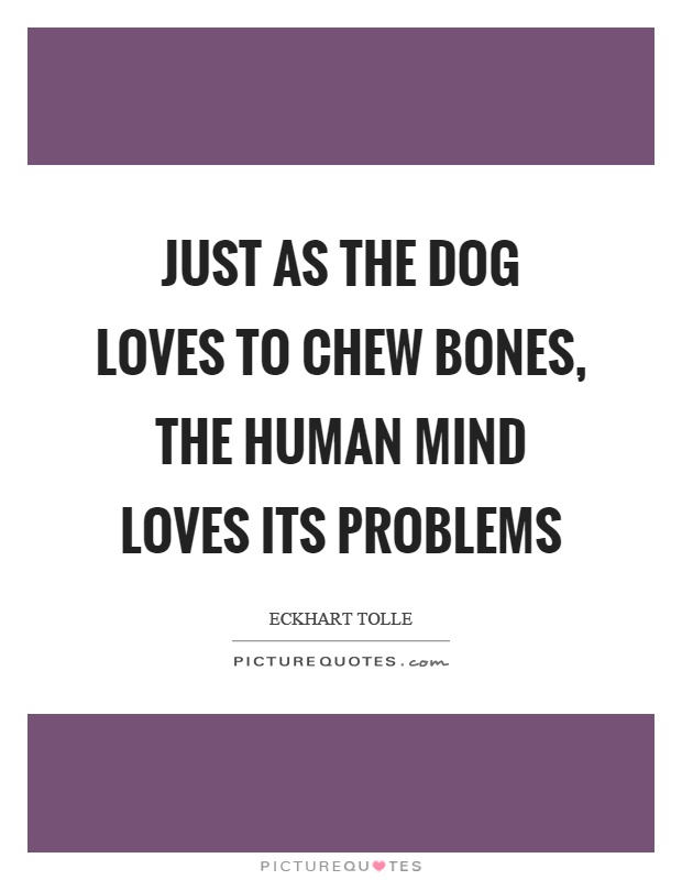 Just as the dog loves to chew bones, the human mind loves its problems Picture Quote #1