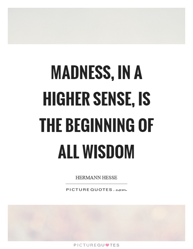 Madness, in a higher sense, is the beginning of all wisdom Picture Quote #1