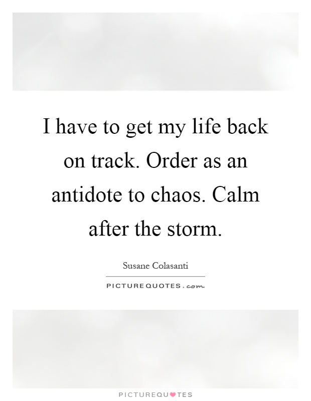 I have to get my life back on track. Order as an antidote to chaos. Calm after the storm Picture Quote #1