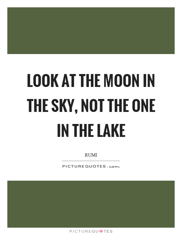 Look at the moon in the sky, not the one in the lake Picture Quote #1