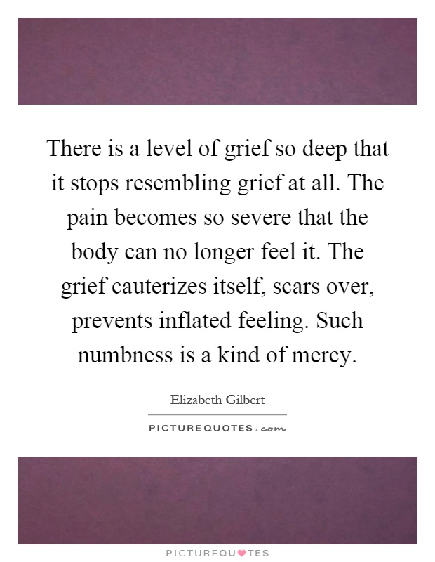 There is a level of grief so deep that it stops resembling grief at all. The pain becomes so severe that the body can no longer feel it. The grief cauterizes itself, scars over, prevents inflated feeling. Such numbness is a kind of mercy Picture Quote #1