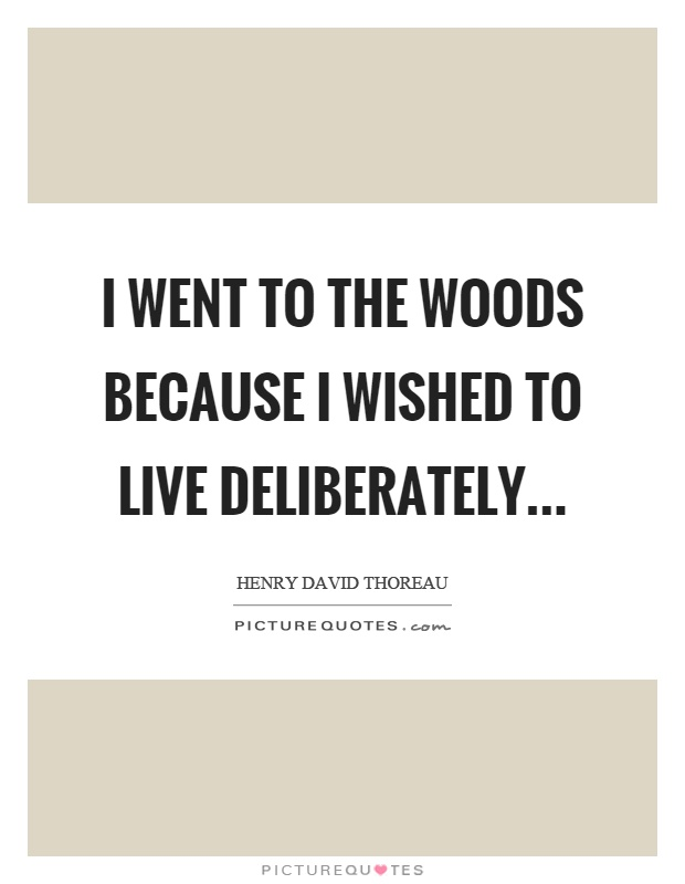 I went to the woods because I wished to live deliberately Picture Quote #1