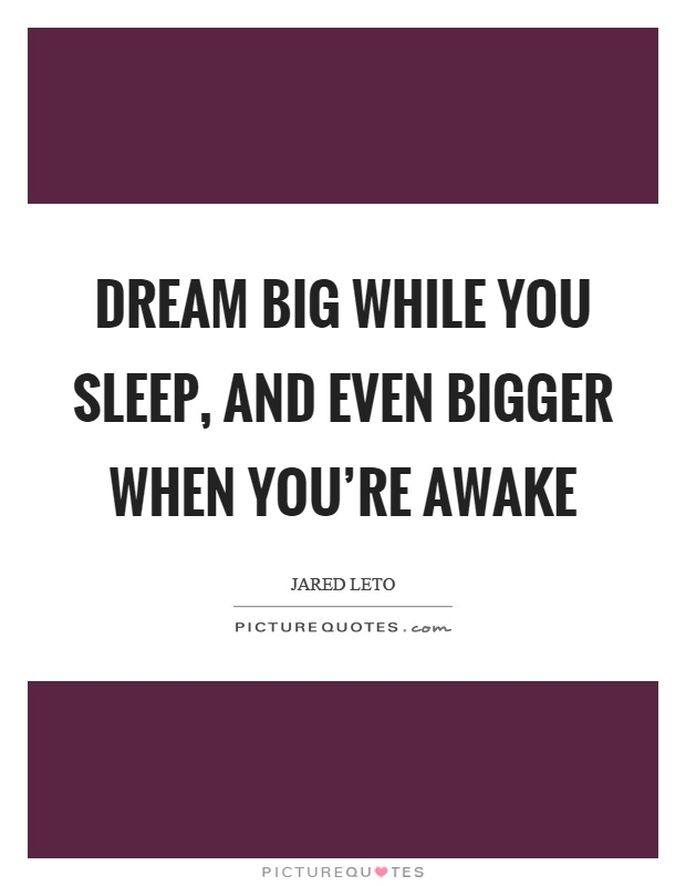 Dream big while you sleep, and even bigger when you're awake Picture Quote #1