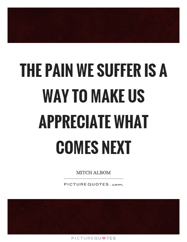 The pain we suffer is a way to make us appreciate what comes next Picture Quote #1