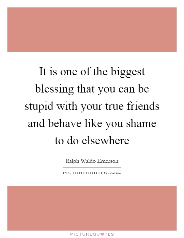 It is one of the biggest blessing that you can be stupid with your true friends and behave like you shame to do elsewhere Picture Quote #1