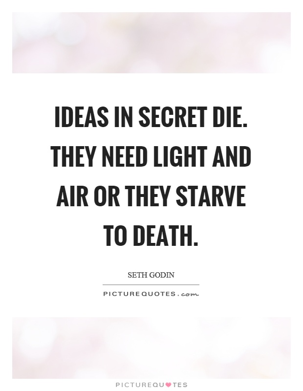 Ideas in secret die. They need light and air or they starve to death Picture Quote #1
