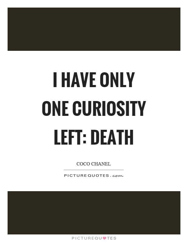 I have only one curiosity left: death Picture Quote #1