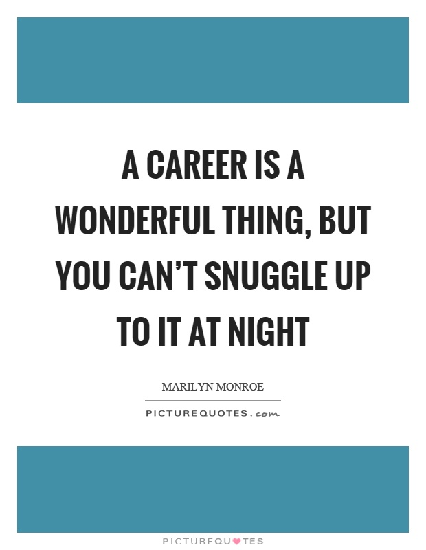 A career is a wonderful thing, but you can't snuggle up to it at night Picture Quote #1
