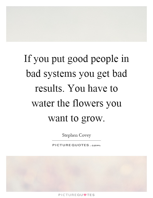 If you put good people in bad systems you get bad results. You have to water the flowers you want to grow Picture Quote #1