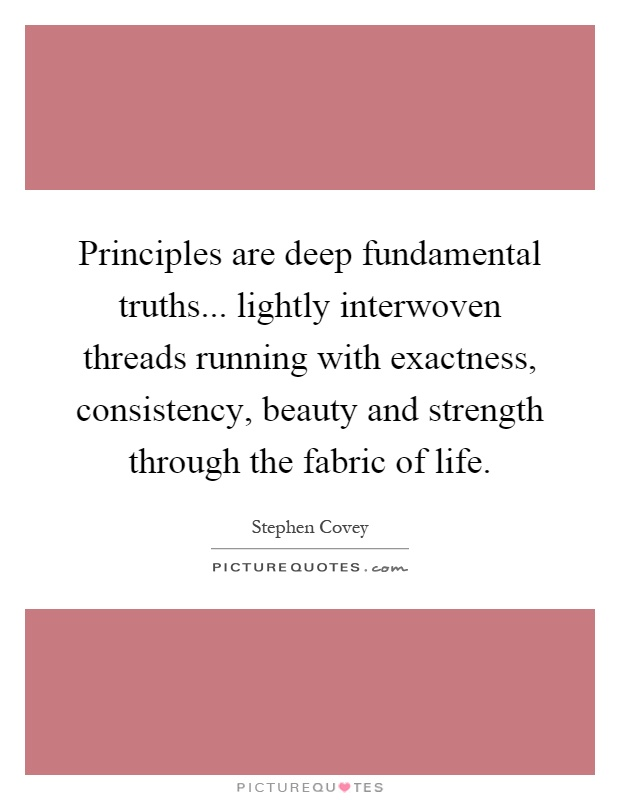 Principles are deep fundamental truths... lightly interwoven threads running with exactness, consistency, beauty and strength through the fabric of life Picture Quote #1