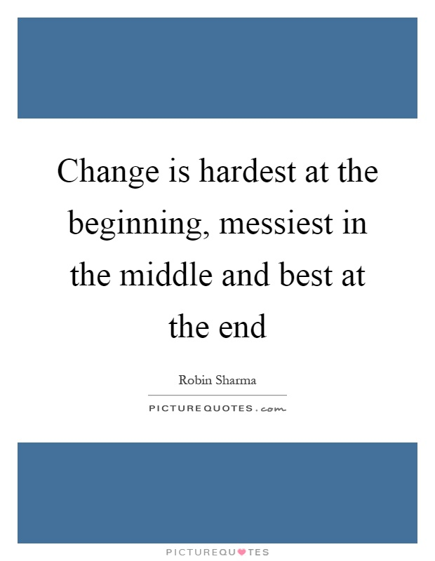 Change is hardest at the beginning, messiest in the middle and best at the end Picture Quote #1
