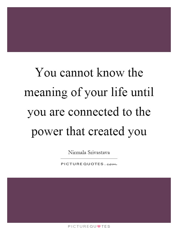 You cannot know the meaning of your life until you are connected to the power that created you Picture Quote #1
