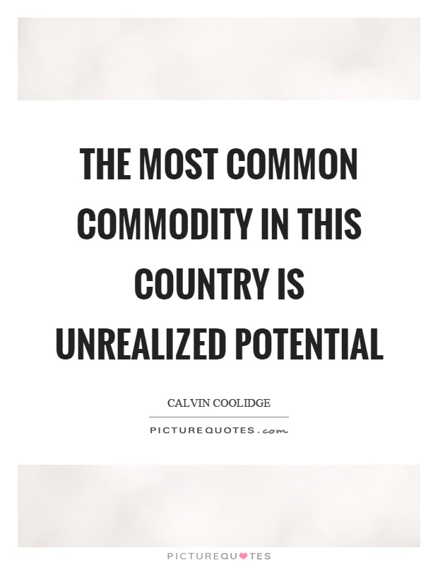 The most common commodity in this country is unrealized potential Picture Quote #1