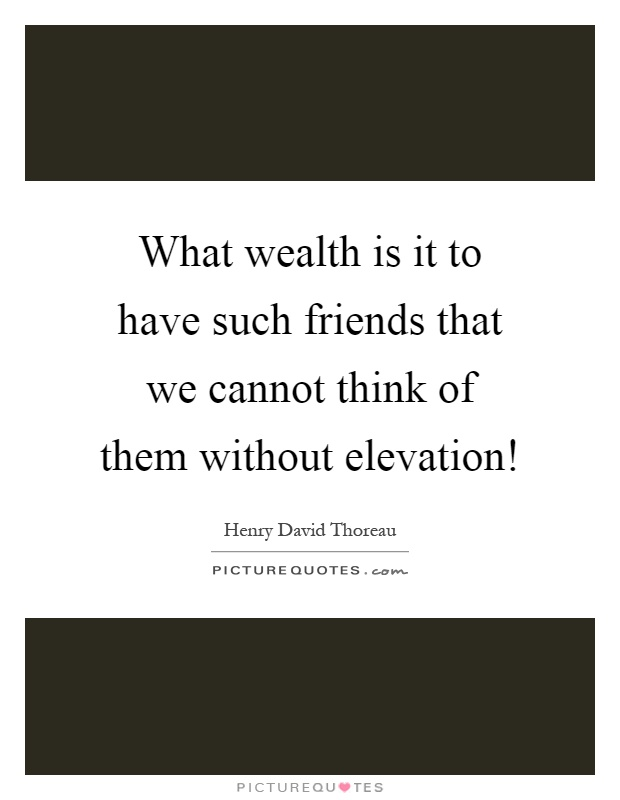 What wealth is it to have such friends that we cannot think of them without elevation! Picture Quote #1