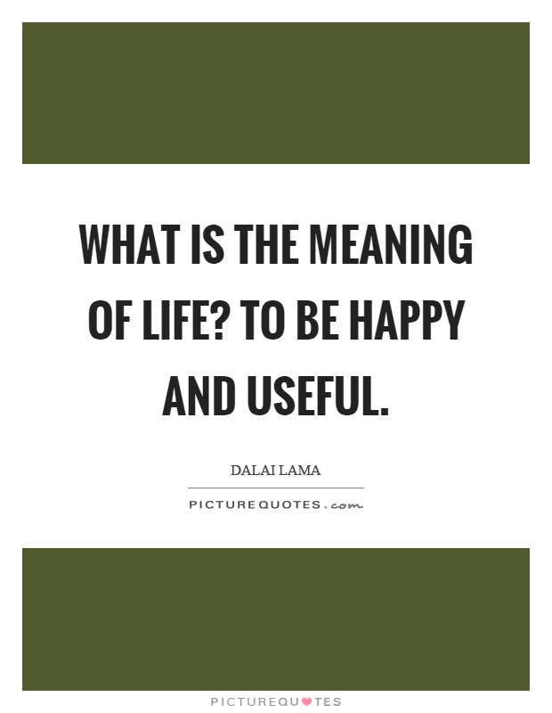 What is the meaning of life? To be happy and useful Picture Quote #1