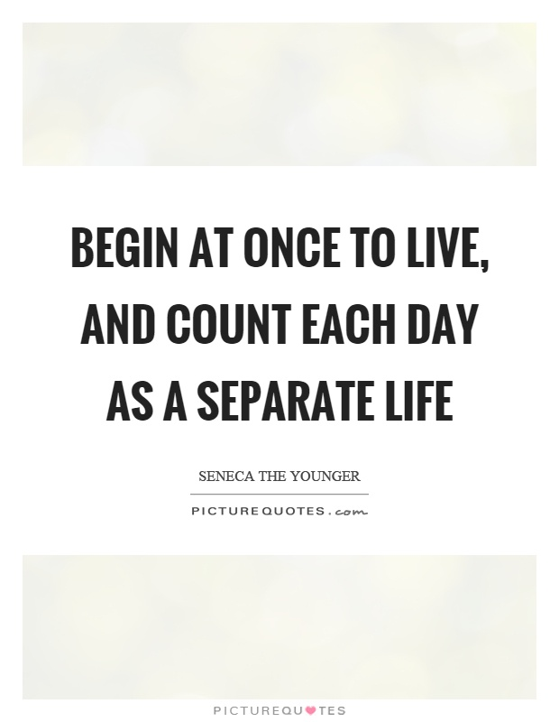 Begin at once to live, and count each day as a separate life Picture Quote #1