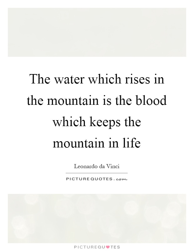 The water which rises in the mountain is the blood which keeps the mountain in life Picture Quote #1