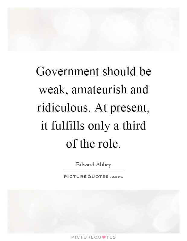 Government should be weak, amateurish and ridiculous. At present, it fulfills only a third of the role Picture Quote #1