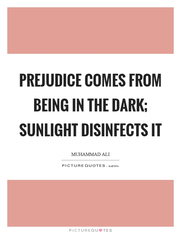 Prejudice comes from being in the dark; sunlight disinfects it Picture Quote #1