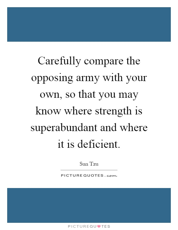 Carefully compare the opposing army with your own, so that you may know where strength is superabundant and where it is deficient Picture Quote #1