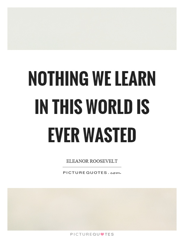Nothing we learn in this world is ever wasted Picture Quote #1