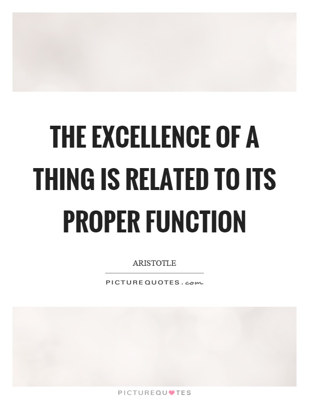 The excellence of a thing is related to its proper function Picture Quote #1