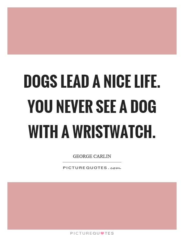 Dogs lead a nice life. You never see a dog with a wristwatch Picture Quote #1