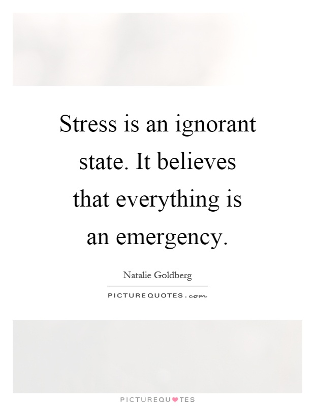 Stress is an ignorant state. It believes that everything is an emergency Picture Quote #1