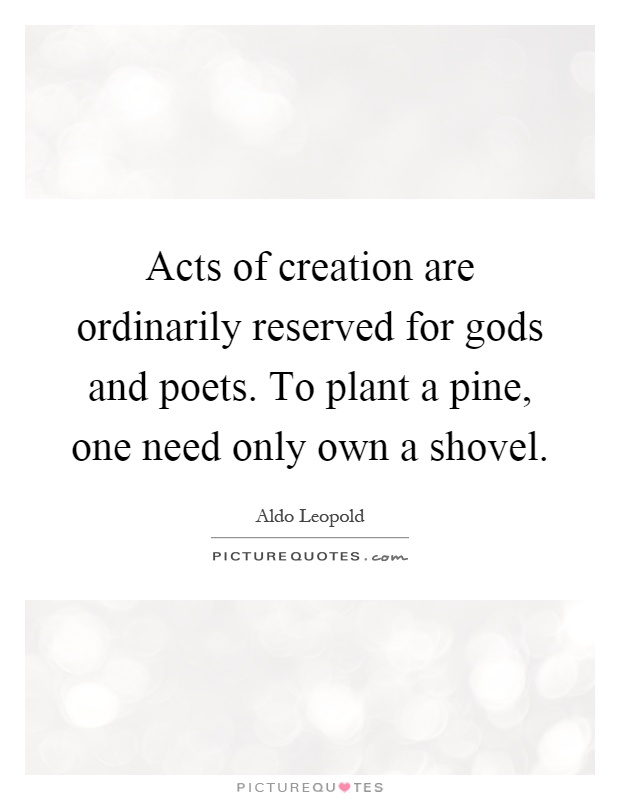 Acts of creation are ordinarily reserved for gods and poets. To plant a pine, one need only own a shovel Picture Quote #1